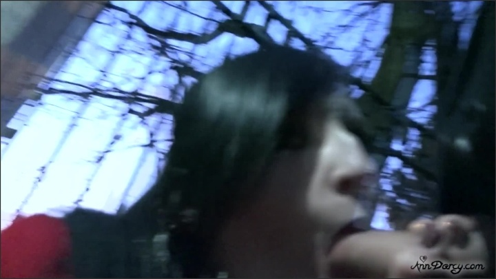 Sexy Gothic Vampire Gives Blowjob Outdoors