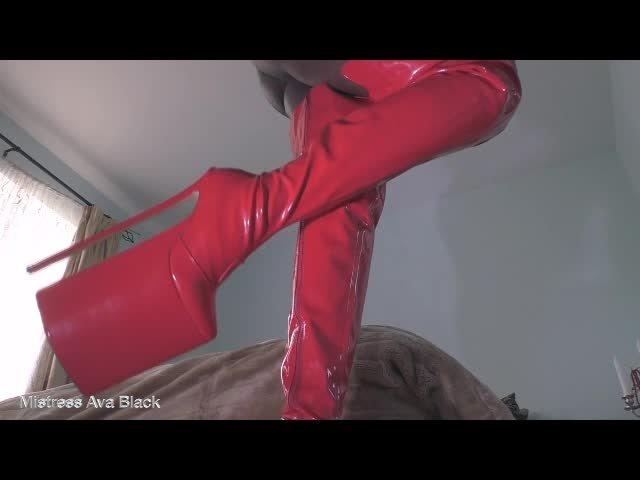 Ava Black Simply Shiny Boot Worship