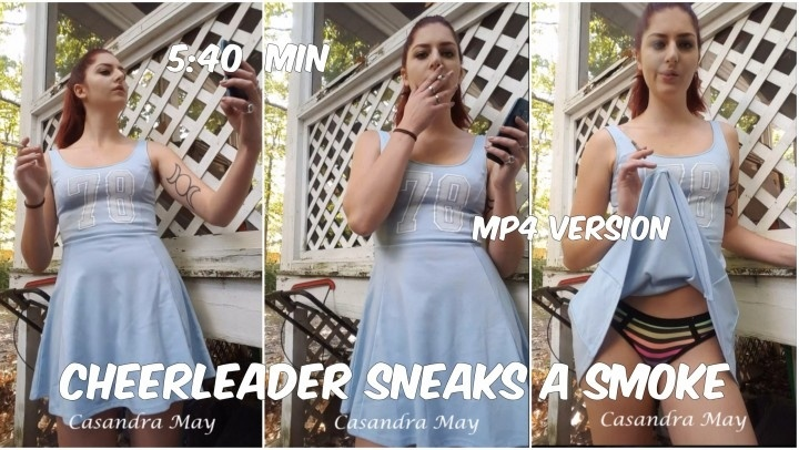 Cassandramayy Cheerleader Sneaks A Smoke