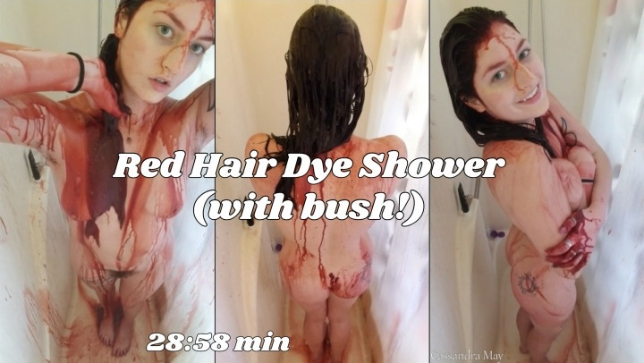 Cassandramayy Red Hair Dye Shower With Bush
