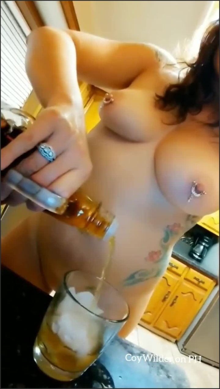 Coywilder Pouring A Drink In The Best Way Naked With A Smile