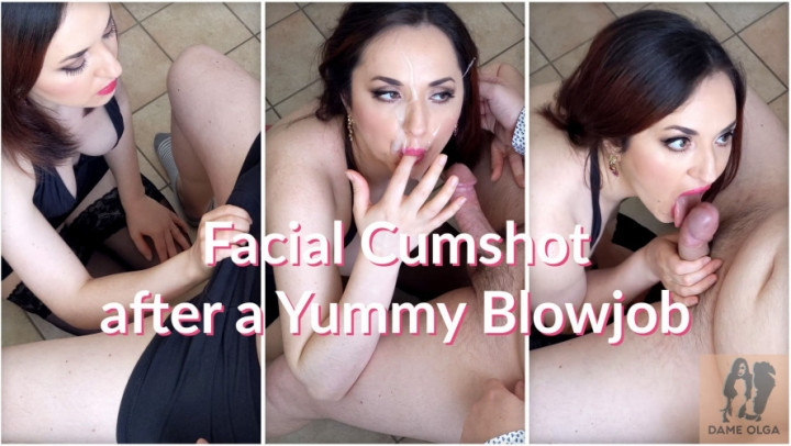 Dame Olga Facial Cumshot After A Yummy Blowjob