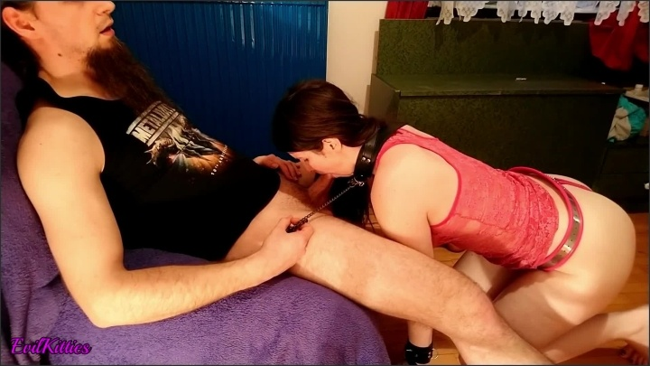 [Full HD] Pet Slave Girl Locked In Chastity And Disciplined By Sucking Masters Dick - EvilKitties - - 00:15:31   Facial, Leash Blowjob - 257,5 MB