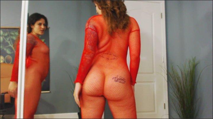 Goddess Green Eyed Mental Domination Red Fishnet Bodysuit