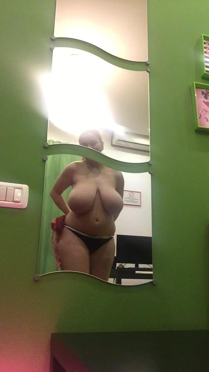 Hugeboobserin Changing Bras Mirror View