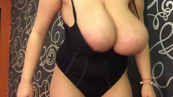 Hugeboobserin Changing From One Bodysuit To Another