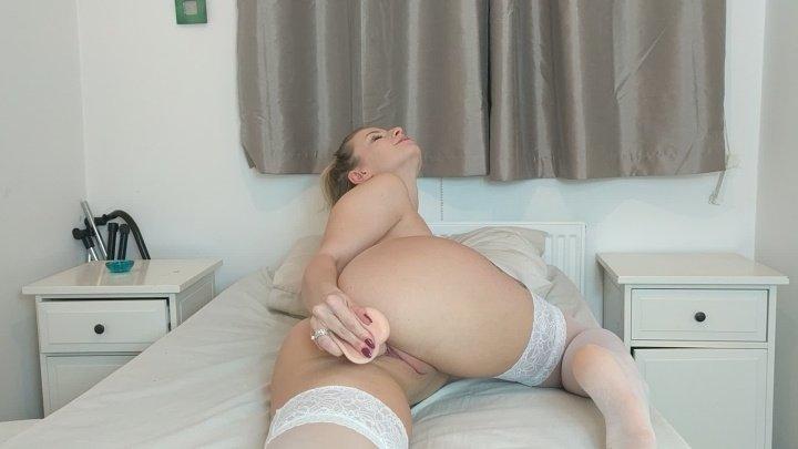 Fucking My Dildo In White Stockings