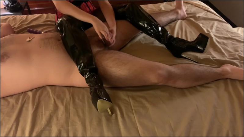[Full HD] Mistress In Thigh High Boots Teases And Tortures Chastity Slave Full - Miss Gabriella - -00:13:23 | Leather Boots, Thigh High Boots, Mistress - 200 MB