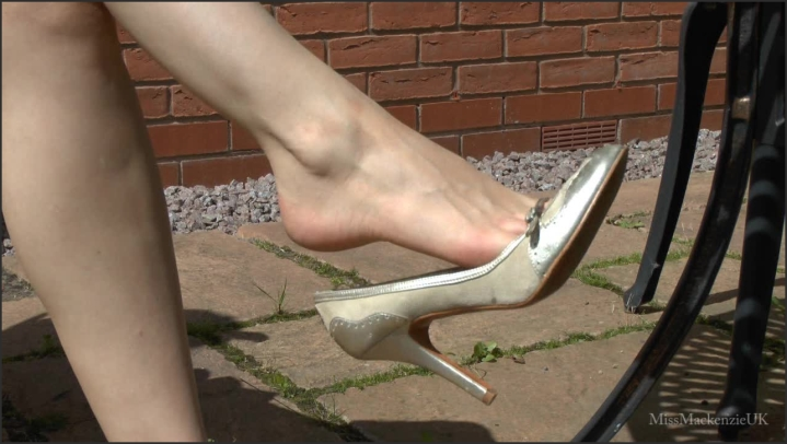 Watch Closely As My Bare Feet In Gold High Heels Swing In Front Of You