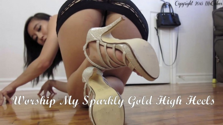 Mscakes Worship My Sparkly Gold High Heels