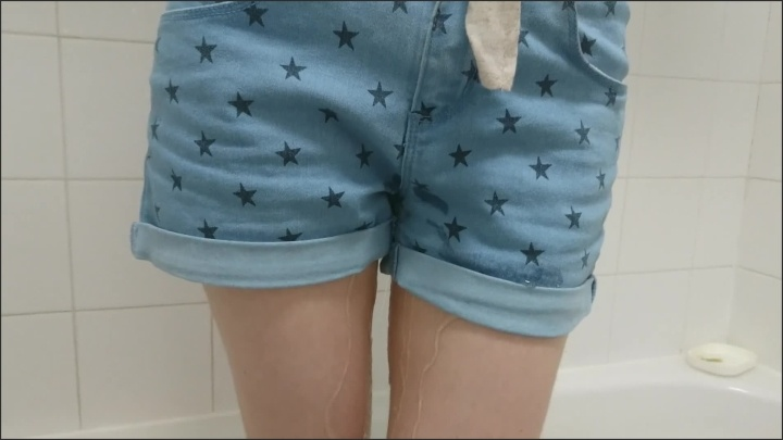 Girl Wets Her Denim Shorts