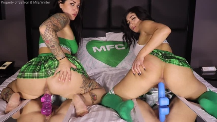 Saffron Mfc Sch--Lgirl Double Dildo Mirror Ride