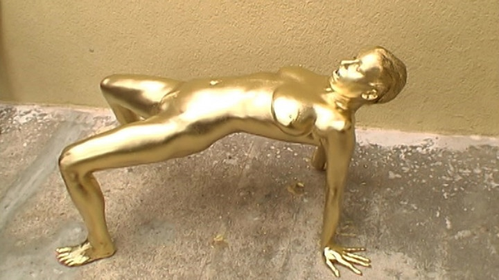 Vidzflix Outdoor Gold Metallic Statue Doll
