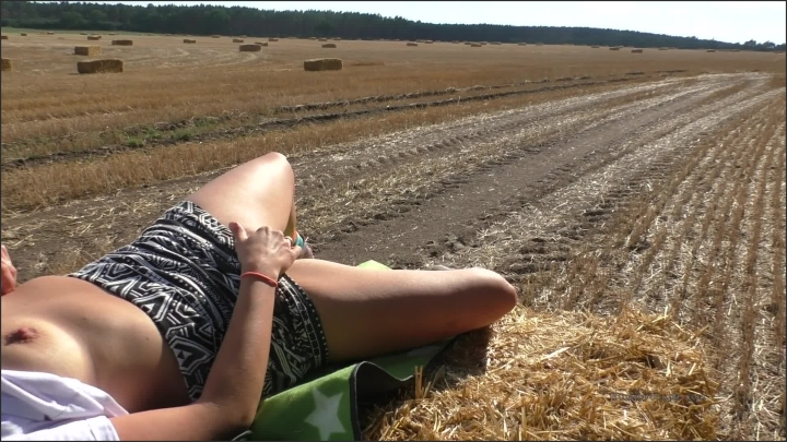 Cute Girl Fucked Outdoors On A Straw Bale Cummed On Twice Public Cumshot
